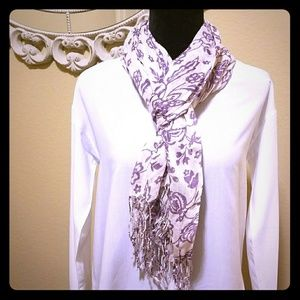 Classy Purple and White Flower Scarf